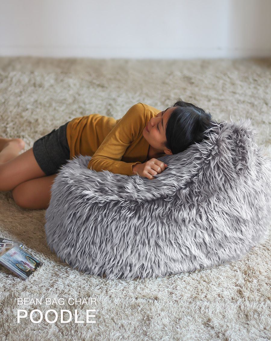 BEAN BAG CHAIR POODLE gray