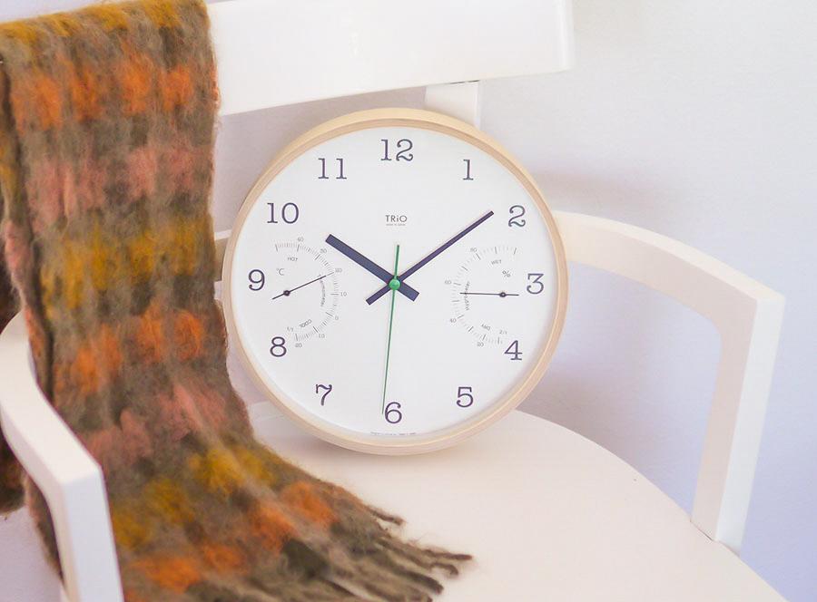 TRiO / トリオ-湿温度計付き掛け時計